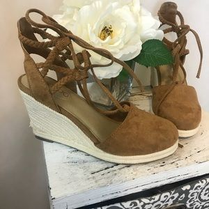 Lace up becca wedges